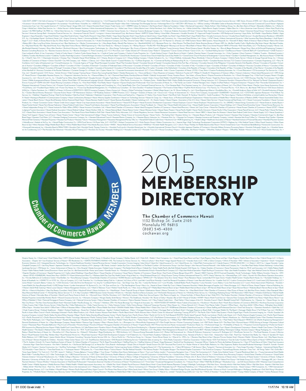 Chamber Of Commerce Hawaii 2015 Directory By Cochawaii Issuu