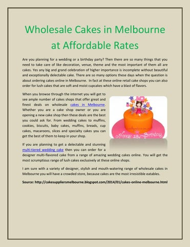 Buy Wholesale Cakes In Melbourne At Affordable Rates By Cake