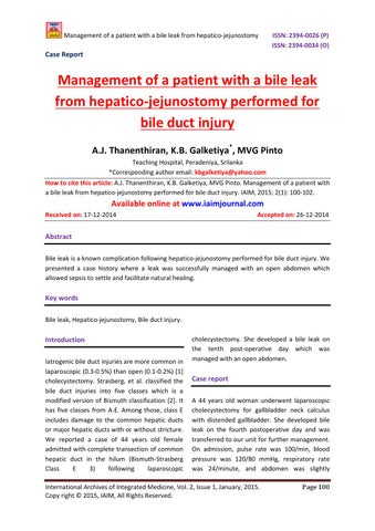 Management of a patient with a bile leak from hepatico