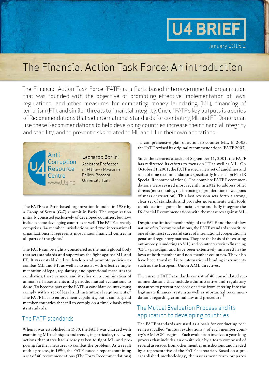an introduction to the fatf and This article serves to introduce this special issue of crime, law, & social changeon the financial action task force (fatf) it provides a primer on the history and.