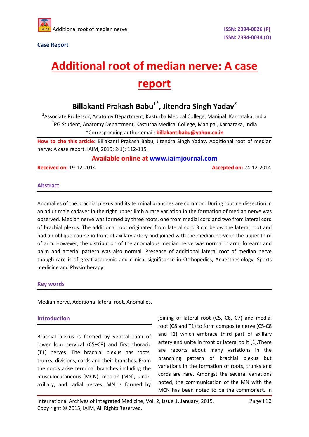 Additional Root Of Median Nerve A Case Report By International