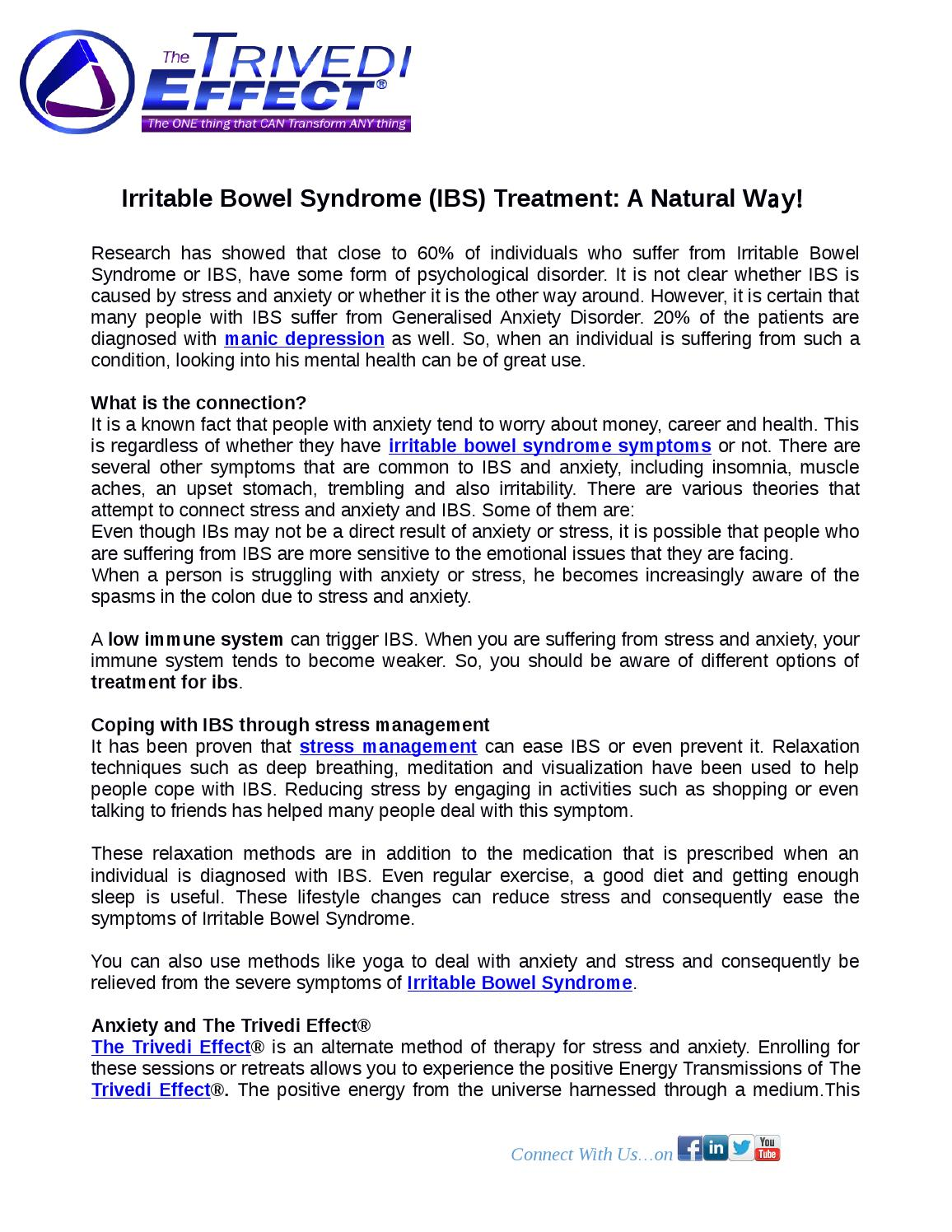 Irritable Bowel Syndrome (IBS) Treatment: A Natural Way! by