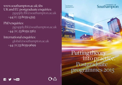 University of Southampton Postgraduate Business School 2015