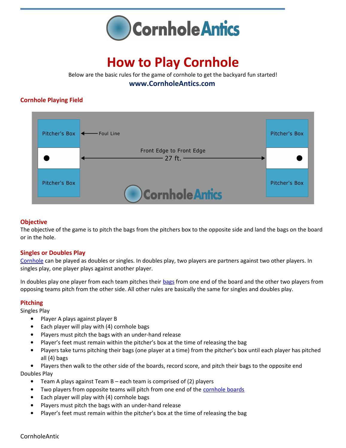 photograph relating to Printable Cornhole Rules identify How towards Perform Cornhole by way of CornholeAntics - issuu