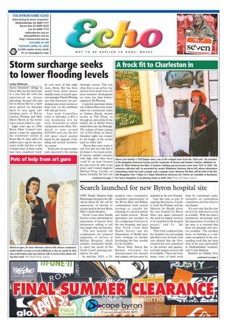 9d822bad9b7 THE BYRON SHIRE ECHO Advertising   news enquiries  Mullumbimby 02 6684 1777  Byron Bay 02 6685 5222 Fax 02 6684 1719 editor echo.net.au  adcopy echo.net.au ...