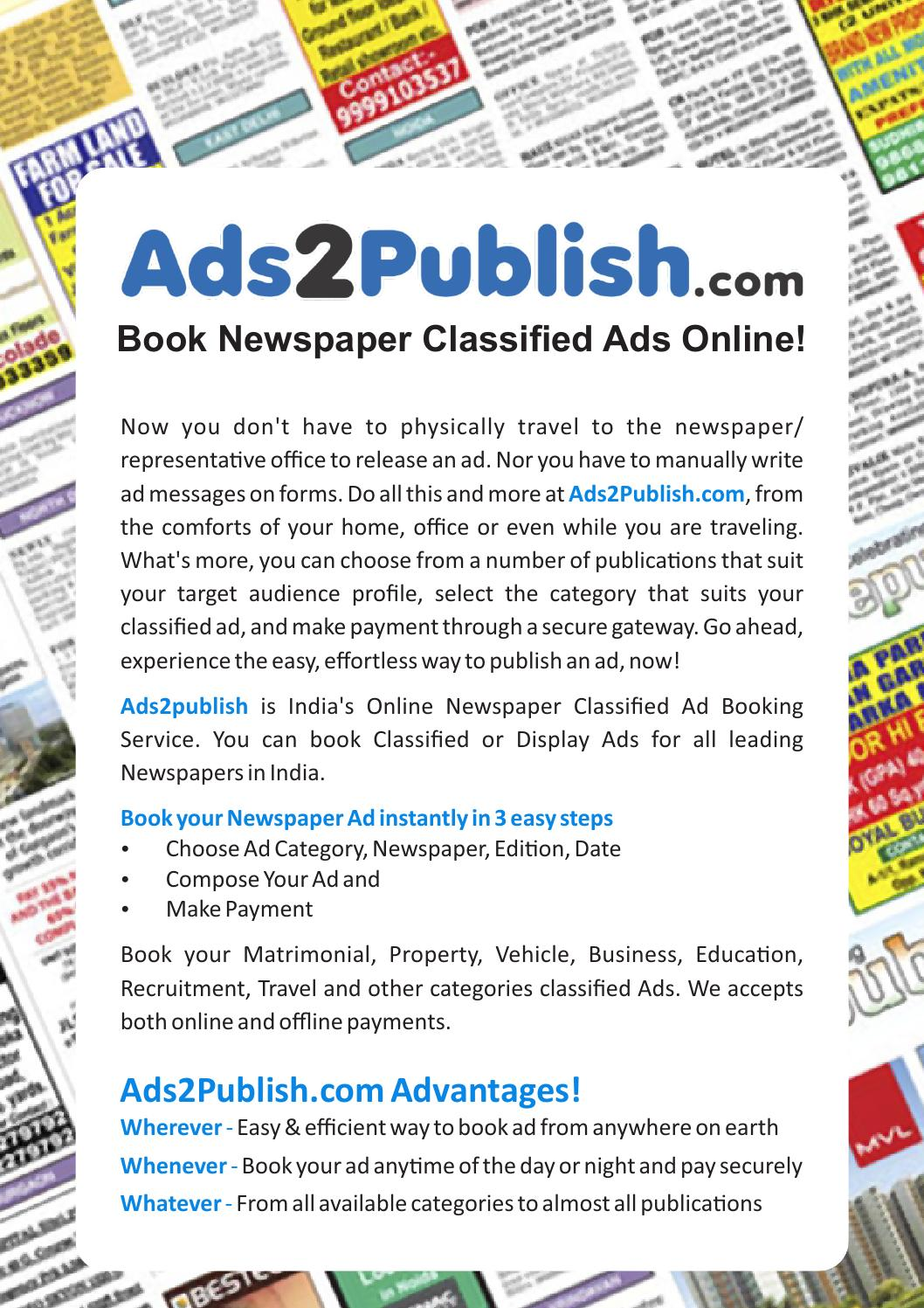 Book Newspaper Advertisements online at Ads2Publish by