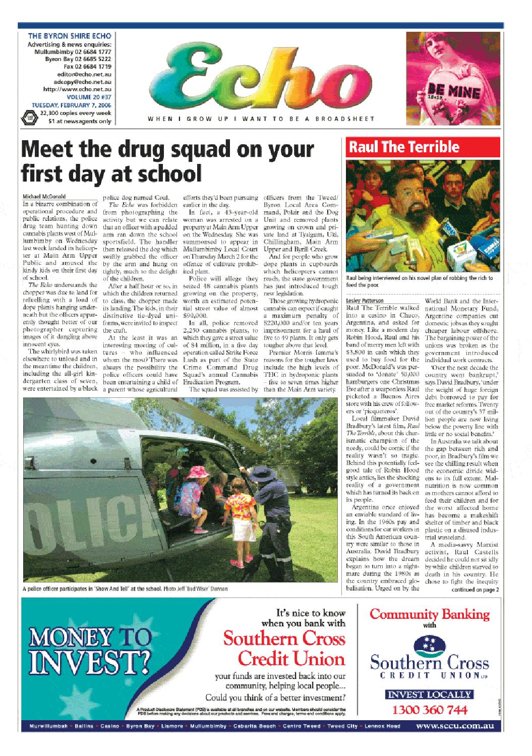7b713ab3ed7da2 Byron Shire Echo – Issue 20.37 – 07 02 2006 by Echo Publications - issuu