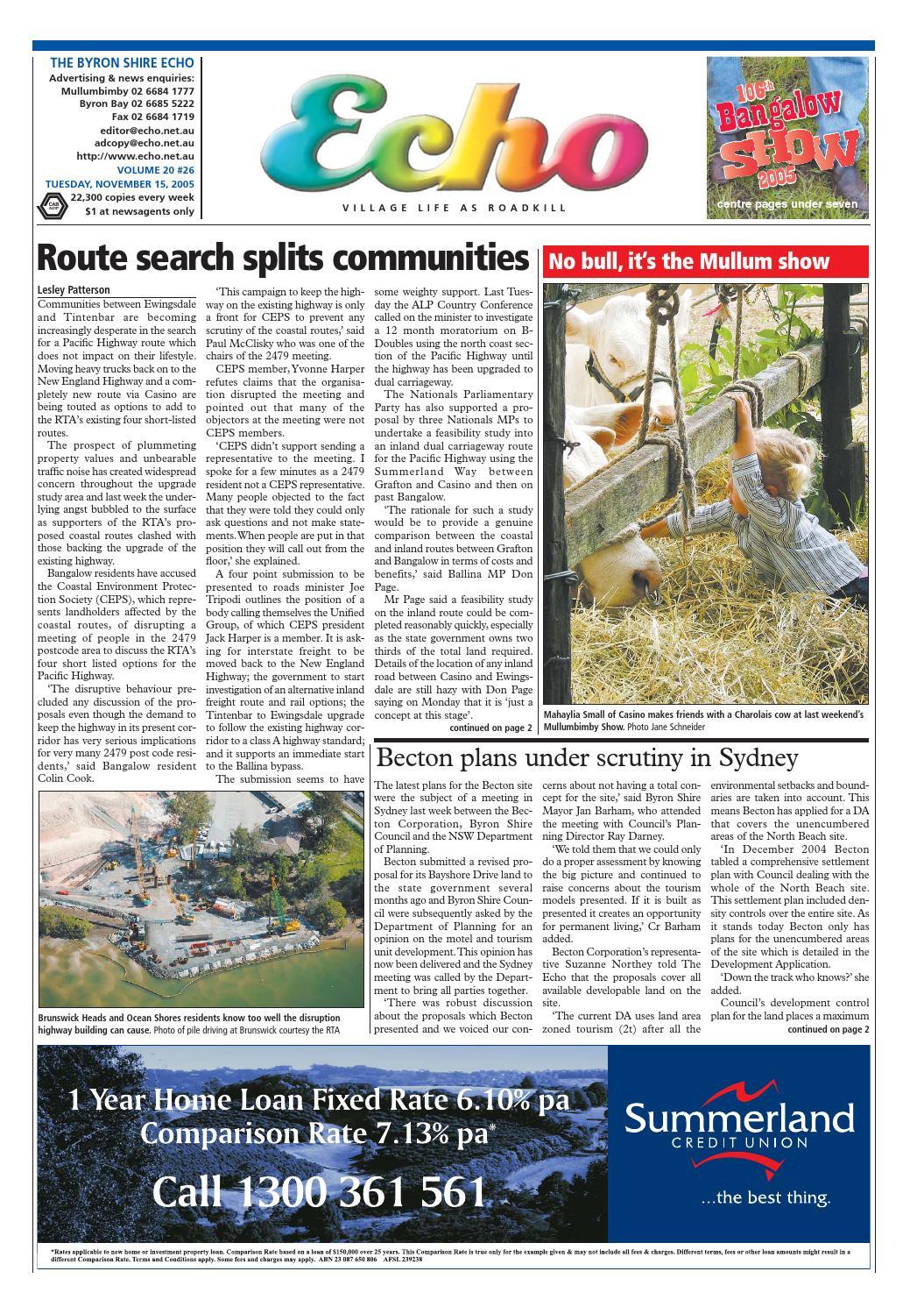 Byron Shire Echo – Issue 20 26 – 15/11/2005 by Echo
