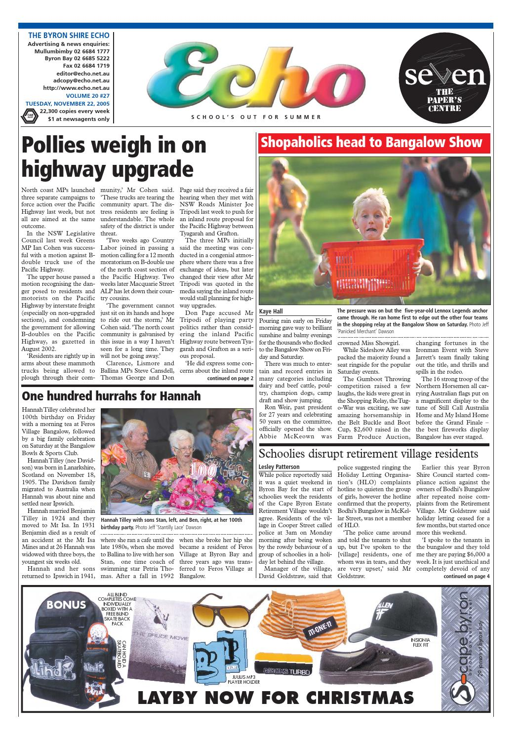 Byron Shire Echo – Issue 20 27 – 22/11/2005 by Echo