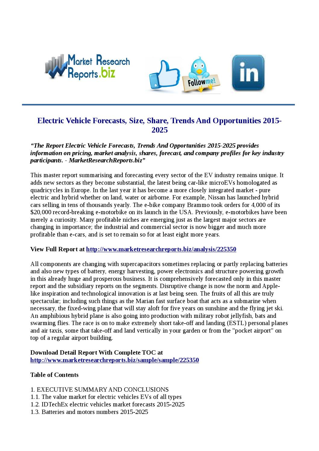 Electric Vehicle Forecasts Size Share Trends And Opportunities 2015 2025 By Rakeshmrr Issuu