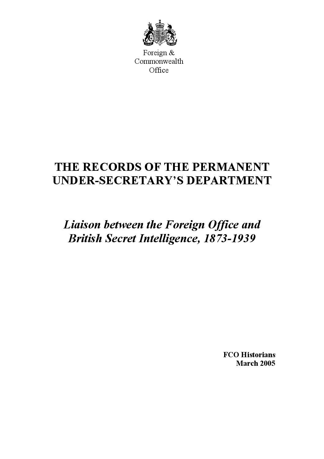 The Records of the Permanent Under-Secretary\'s Department, 1873-1939 ...