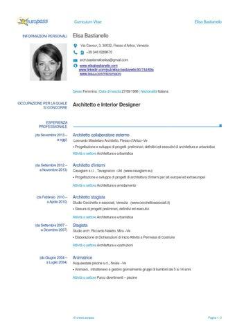 Curriculum vitae elisa bastianello architetto by elisa for Architetto arredatore d interni