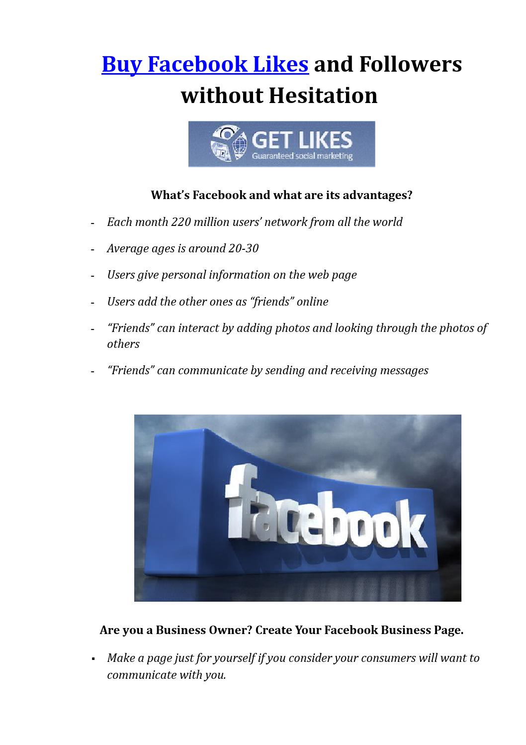 Buy facebook likes and followers without hesitation by buy_facebook_likes - Issuu
