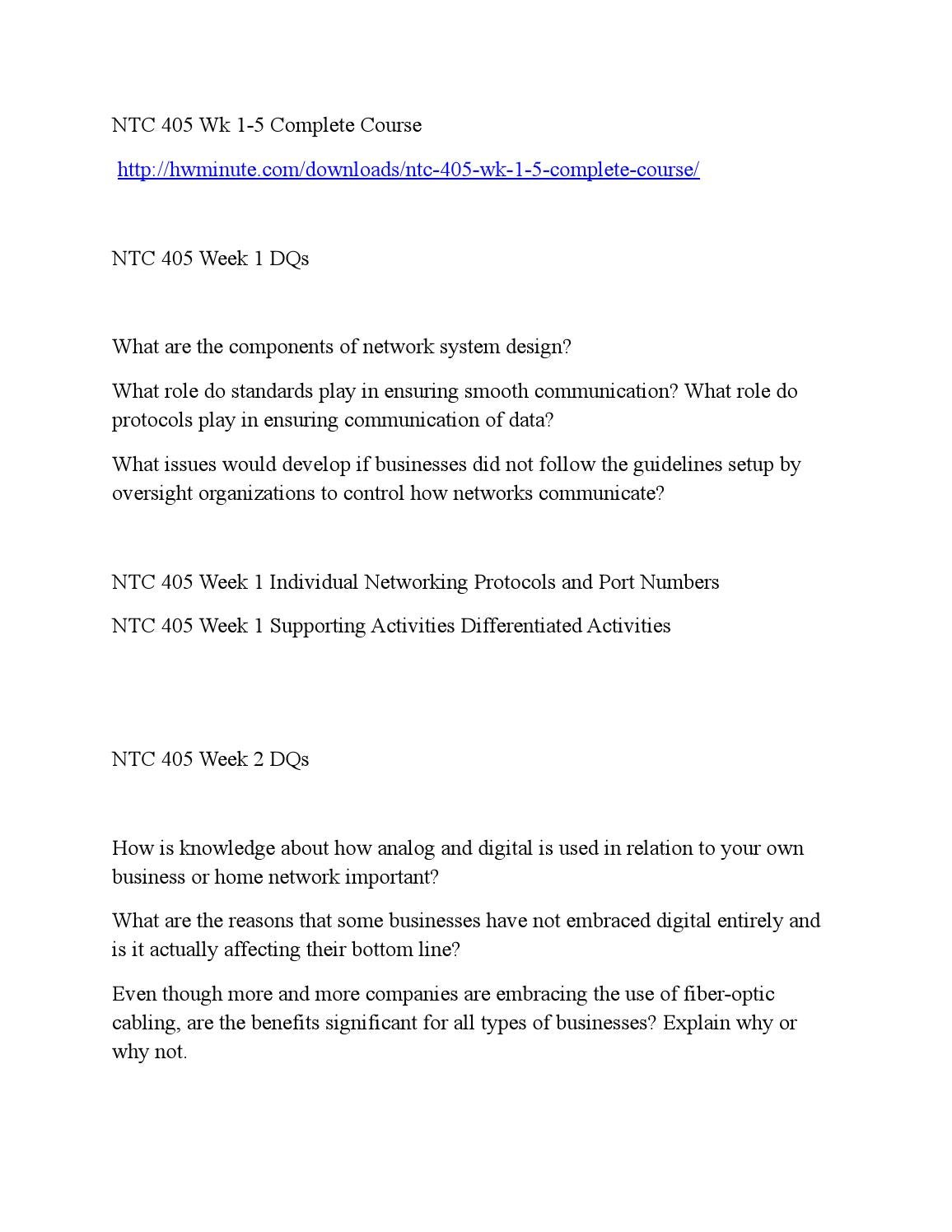 ntc 405 week 5 supporting activities Ntc 405 week 5 individual troubleshooting document (2 papers) for more course tutorials visit wwwuophelpcom this tutorial contains 2 papers ntc 405 week 5 individual: troubleshooting document after completing this week's practice labs activities, create a 25- to 3-page troubleshooting document that is intended to become part of the.