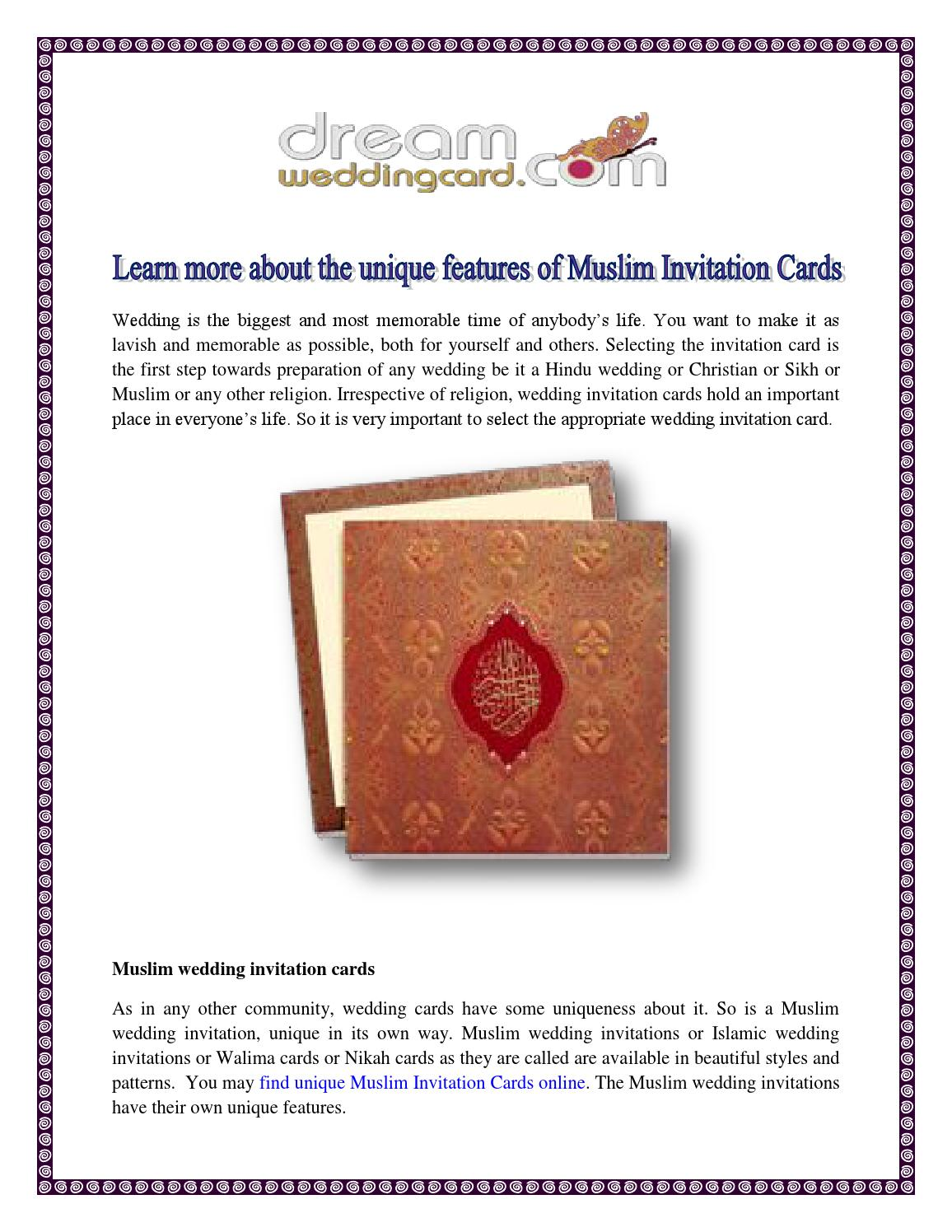 Learn More About The Unique Features Of Muslim Invitation
