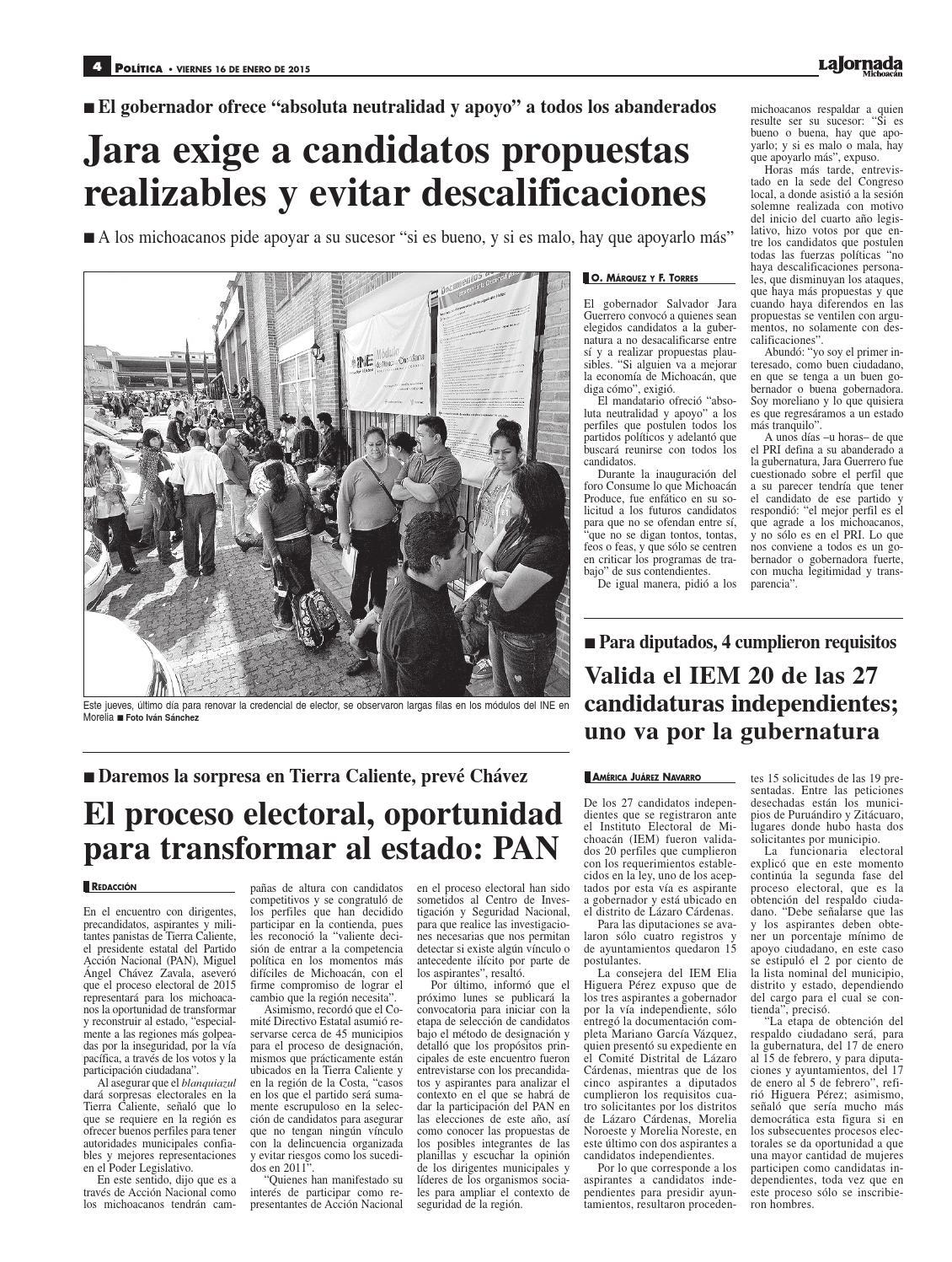 Viernes 16 De Enero Del 2015 By La Jornada Michoacán Issuu
