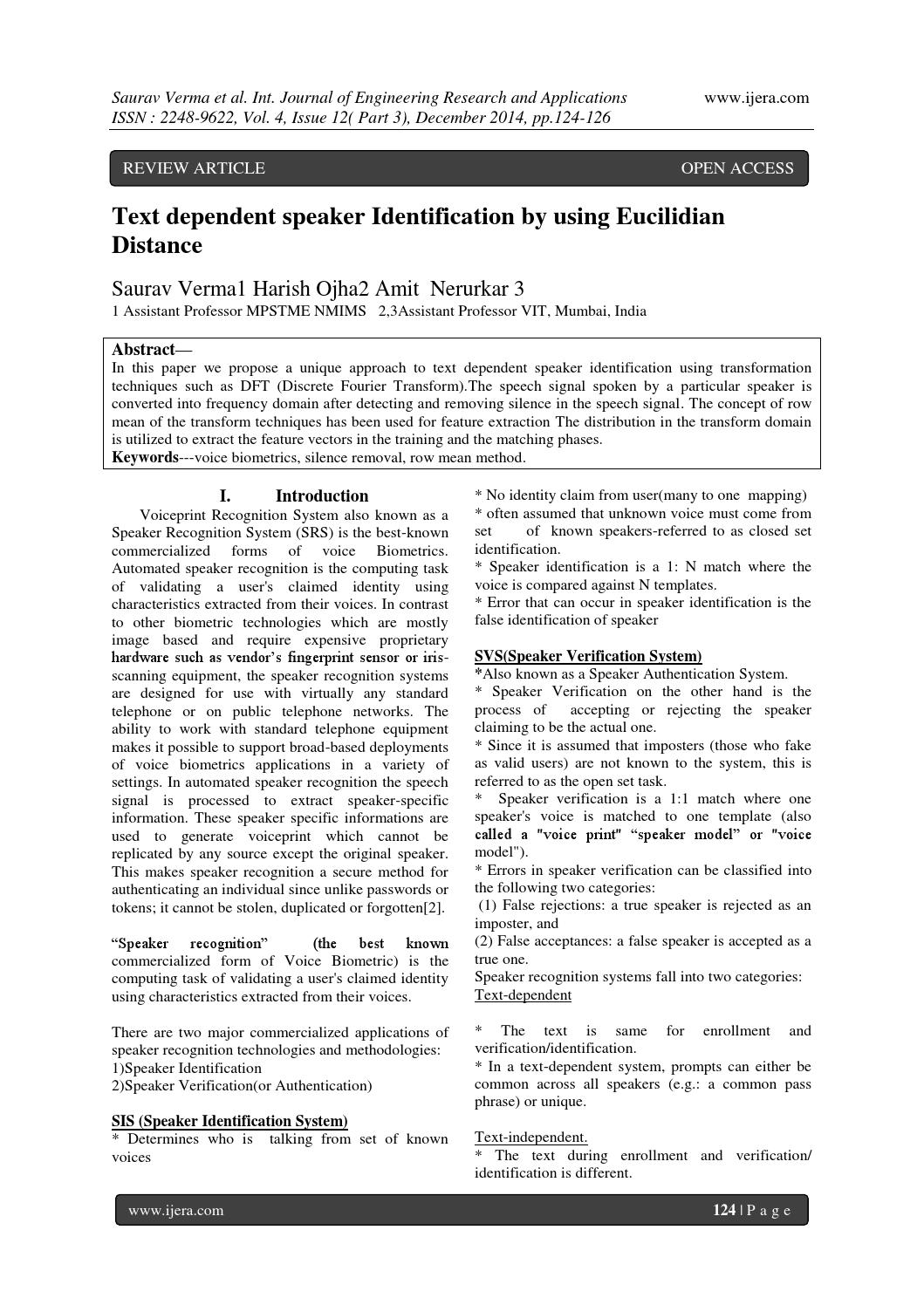 Text dependent speaker Identification by using Eucilidian Distance