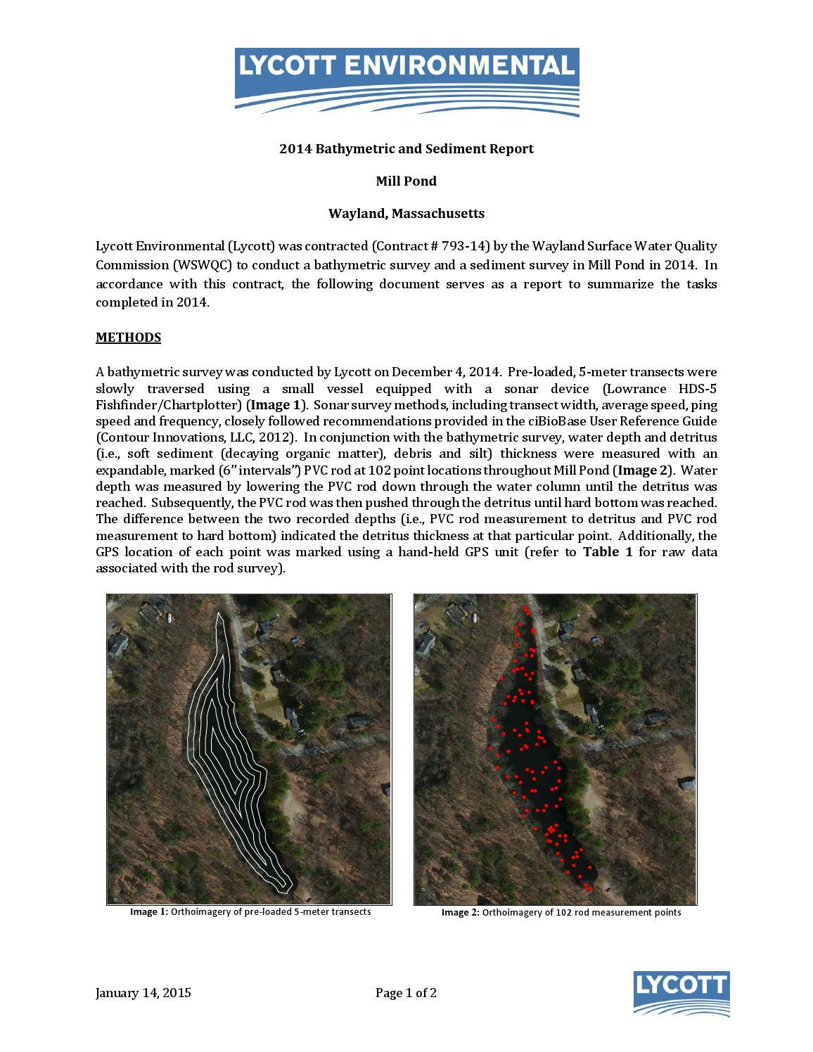 2014 Mill Pond Bathymetric & Sediment Survey by Wayland