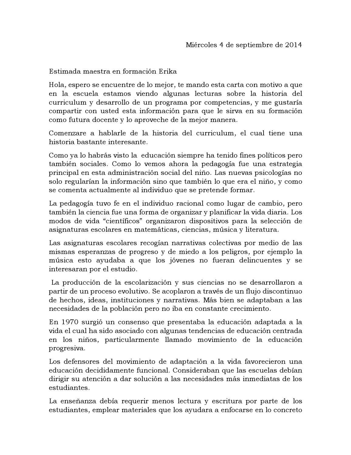 Carta sobre el curriculum by alejandrina - issuu