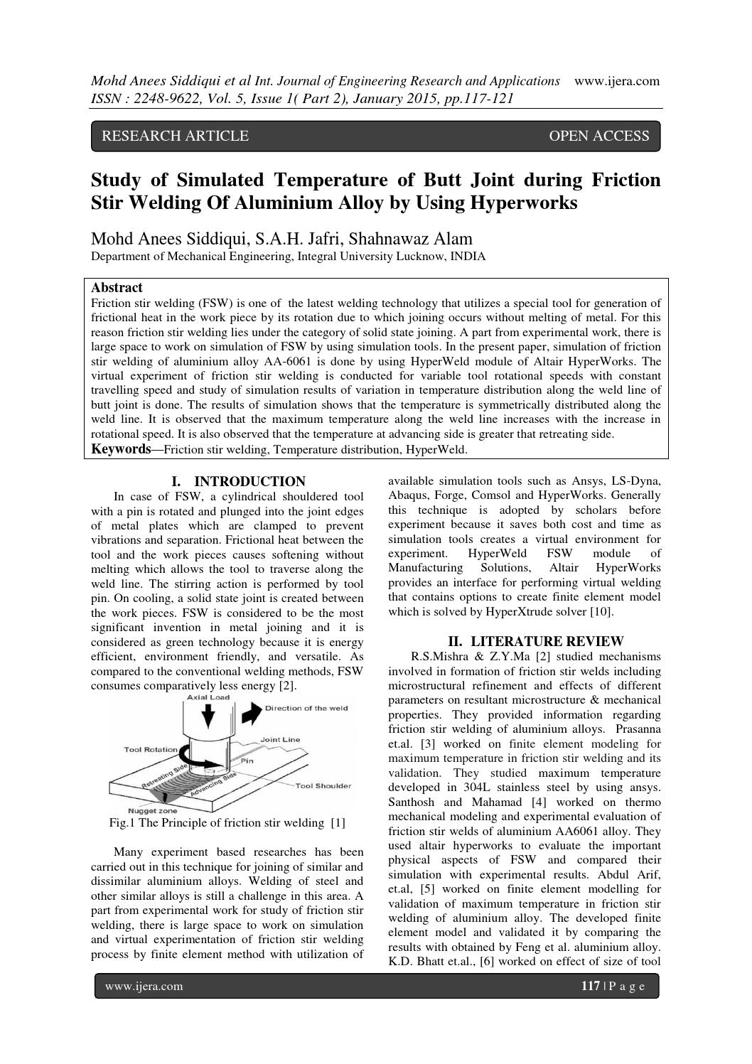 Study of Simulated Temperature of Butt Joint during Friction Stir