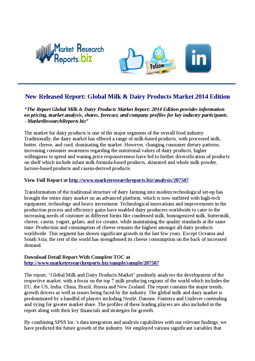 New Released Report: Global Milk \u0026 Dairy Products Market 2014 ...