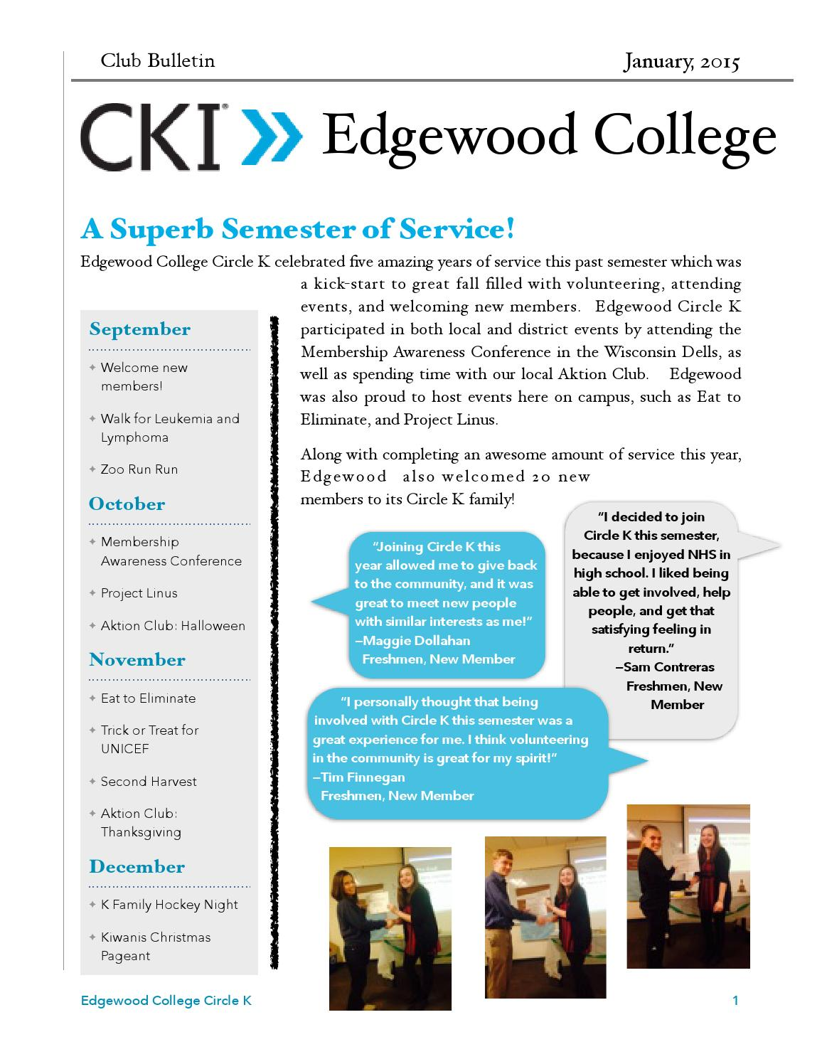 Edgewood College Circle K Club Bulletin Winter Edition by Katie ...