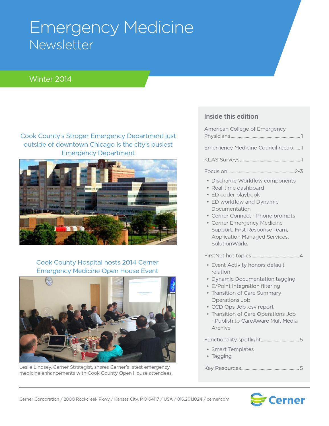 Winter 2015 newsletter by Cerner Emergency Medicine - issuu