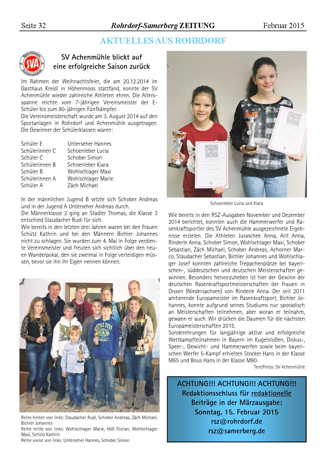 RSZ Rohrdorf-Samerberg ZEITUNG Ausgabe Februar 2015 by Uwe ...