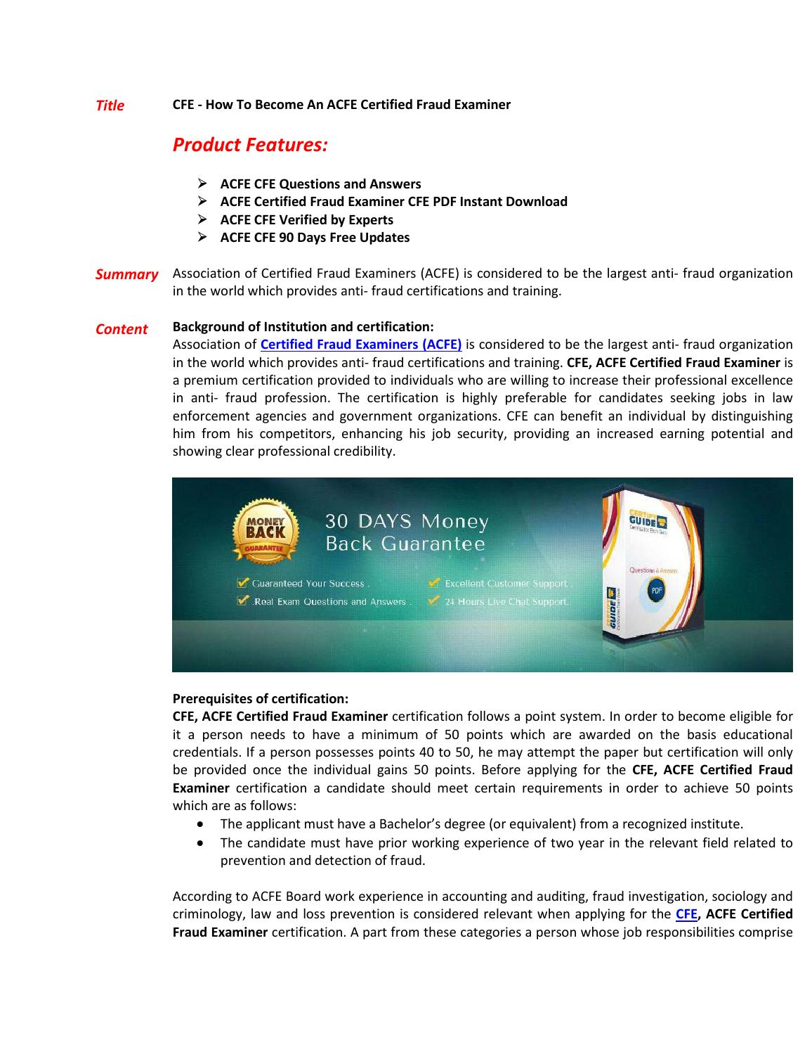 Cfe Exam Questions Answers By Directcertify Issuu
