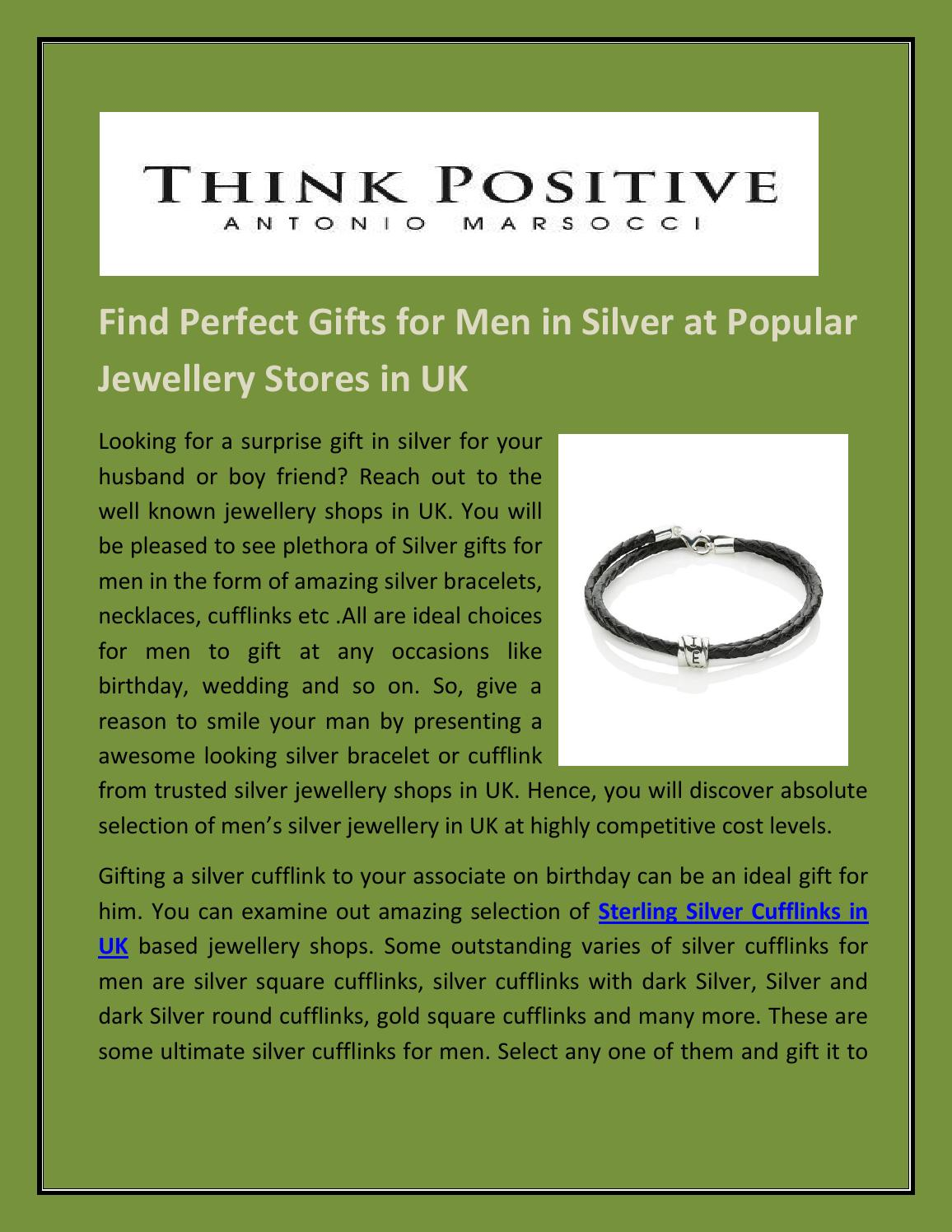 Find Perfect Gifts For Men In Silver At Popular Jewellery Stores In