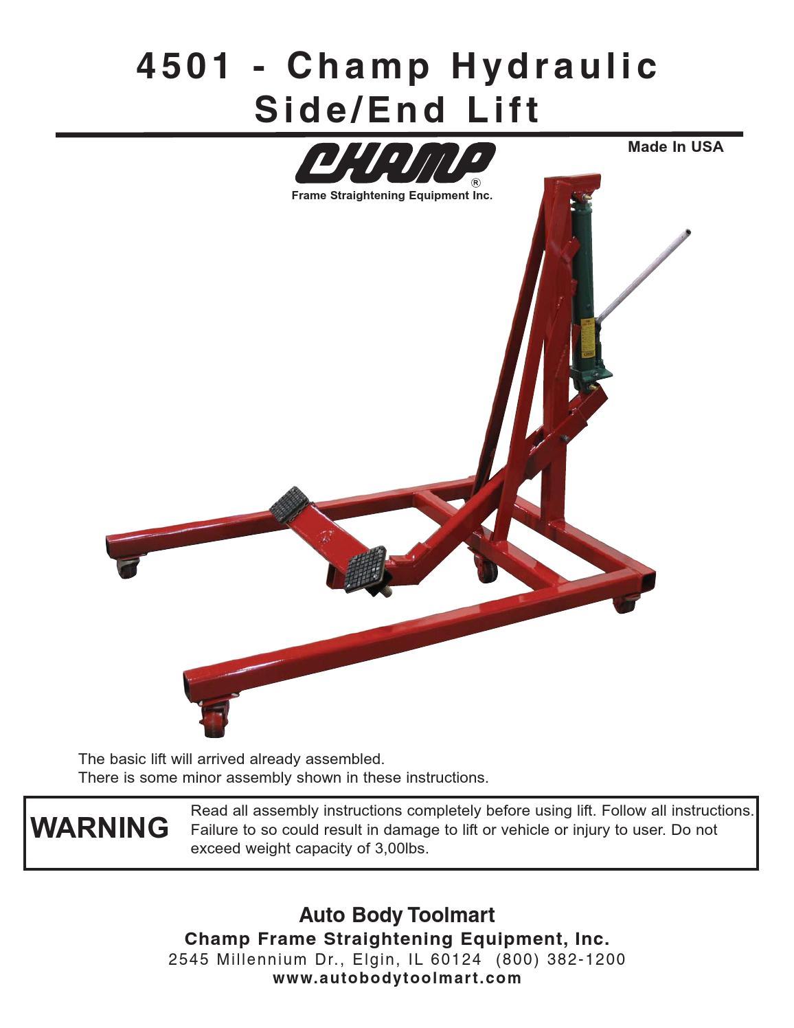 4501 Champ Hydraulic Side End Lift By Auto Body Toolmart