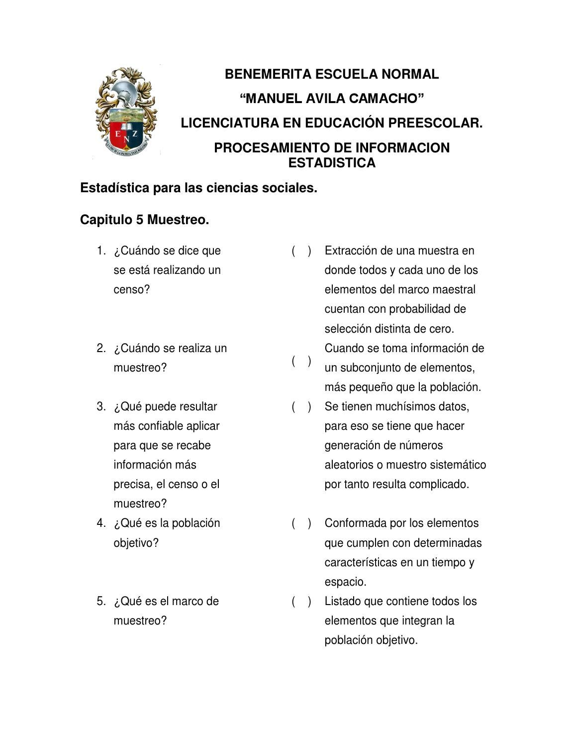 Examen capitulo 5 muestreo preguntas by Giovanna - issuu