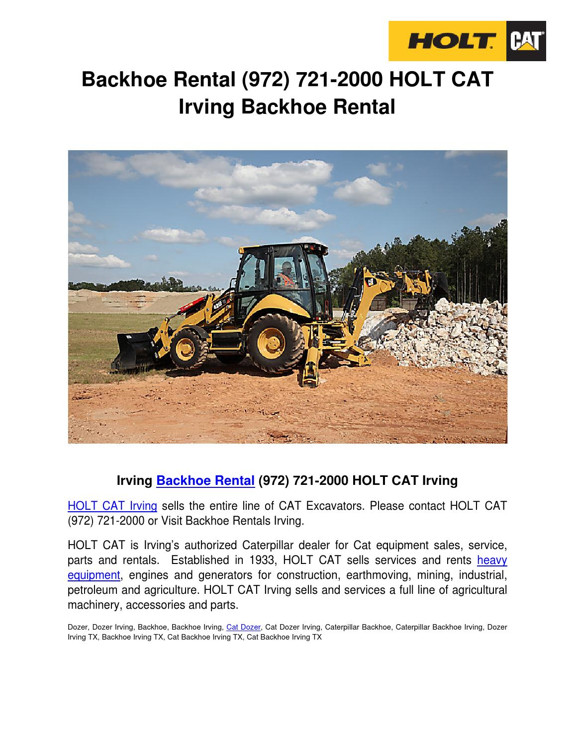 Backhoe rental (972) 721-2000 HOLT CAT Irving Backhoe by