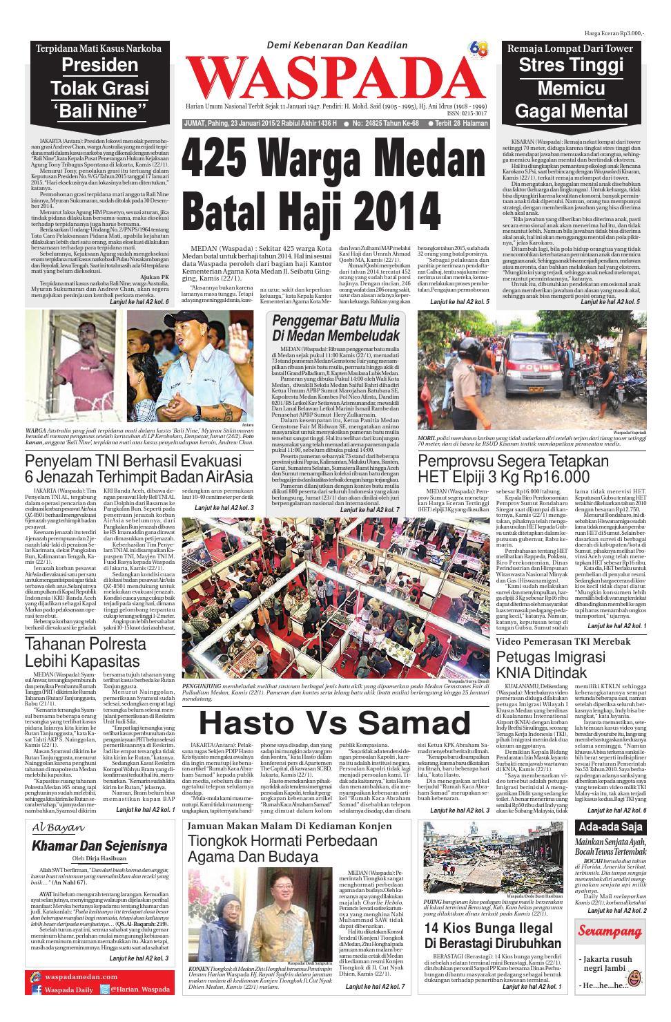 Waspada Jumat 23 Januari 2015 By Harian Issuu E5673 Tsel Ramadhan Fair Asia Plaza Tasikmalaya