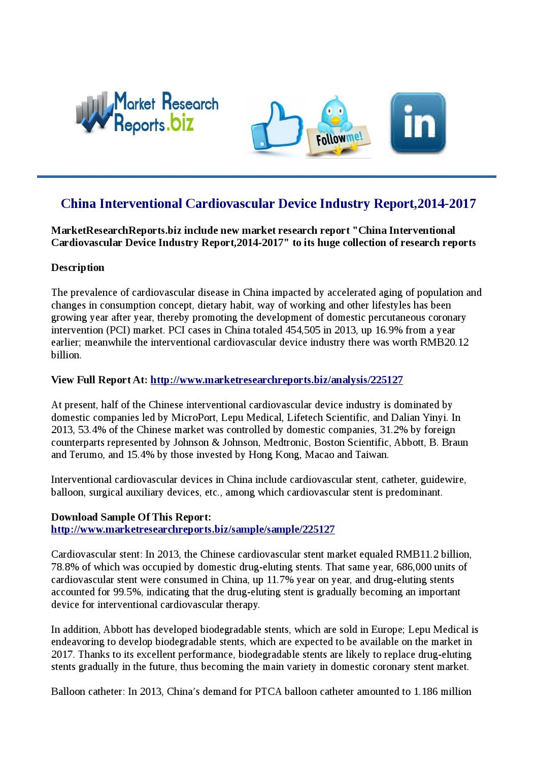 China Interventional Cardiovascular Device Industry Report,2014-2017 ...