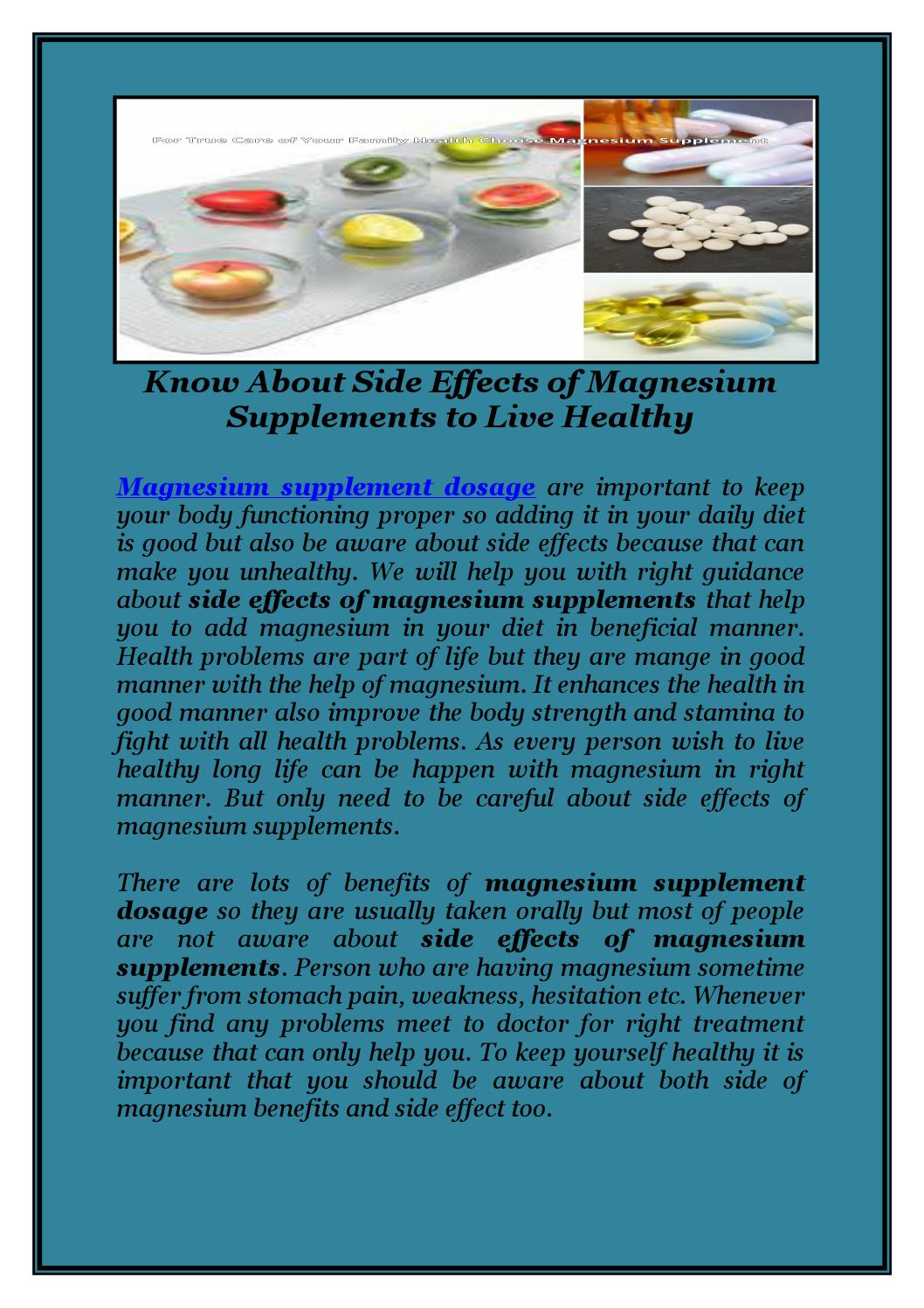 Know about side effects of magnesium supplements to live ...