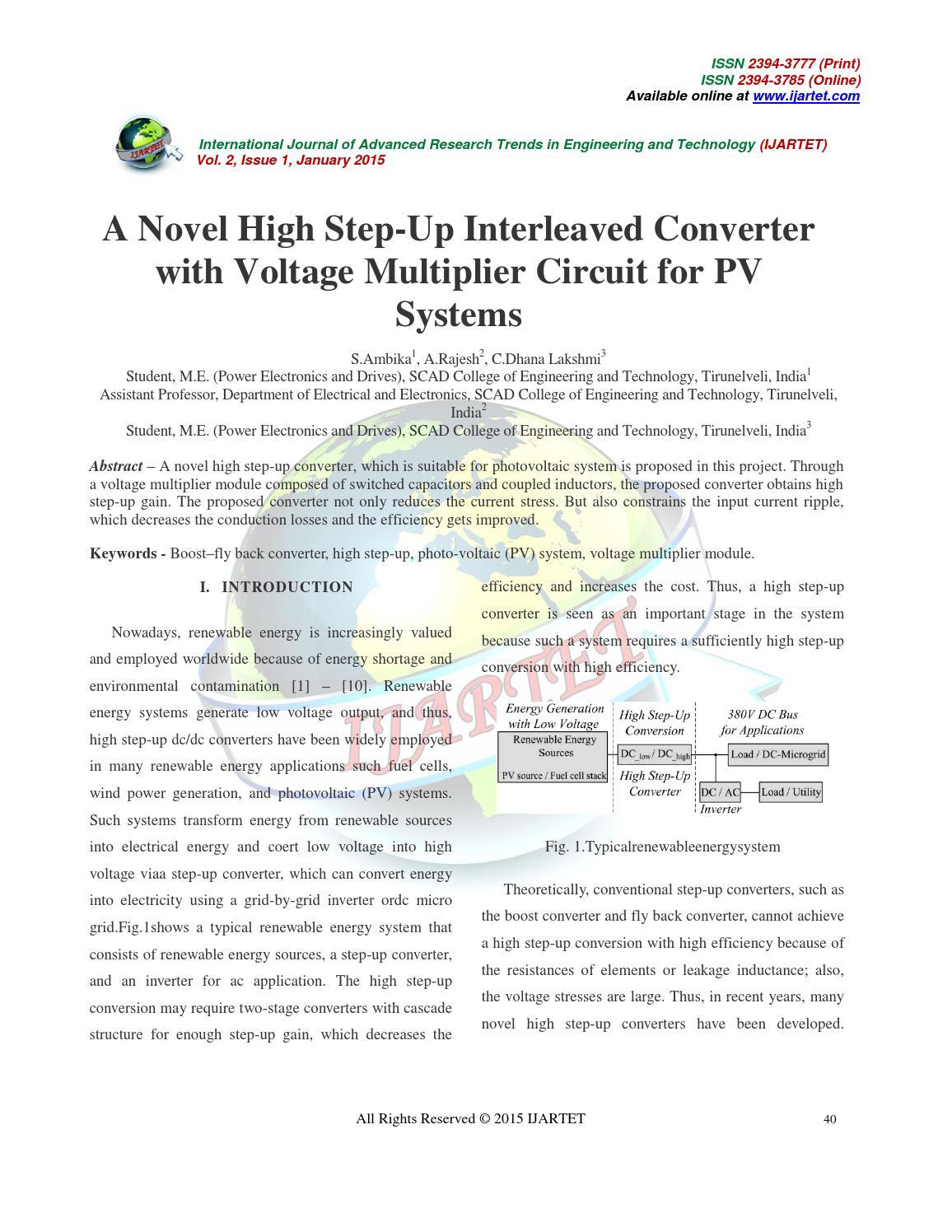 A Novel High Step Up Interleaved Converter By Ijartet Issuu Voltage Multiplier Circuit On Dc