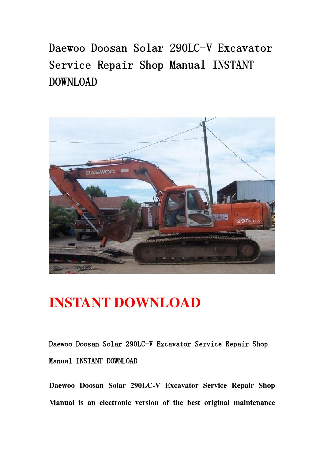 Daewoo doosan solar 290lc v excavator service repair shop manual instant  download by jshenfjse - issuu
