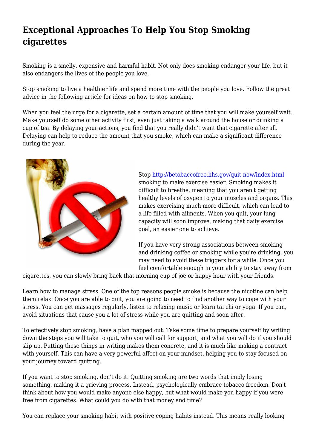 Exceptional Approaches To Help You Stop Smoking cigarettes