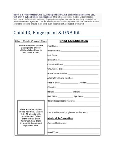 photograph relating to Free Printable Child Identification Card named Absolutely free Printable Youngster Identification Card by way of Dreamcatchers for Abused