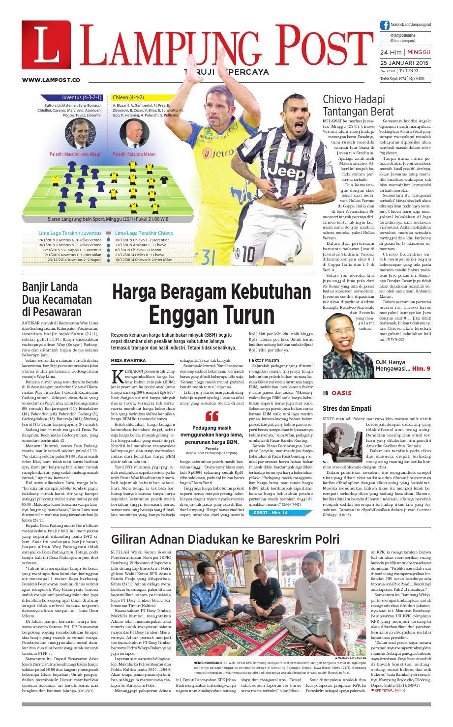 Lampung Post Minggu 25 Januari 2015 By Issuu Tcash Vaganza 39 Bantal Mobil 3 In 1 Juventus Aksesoris