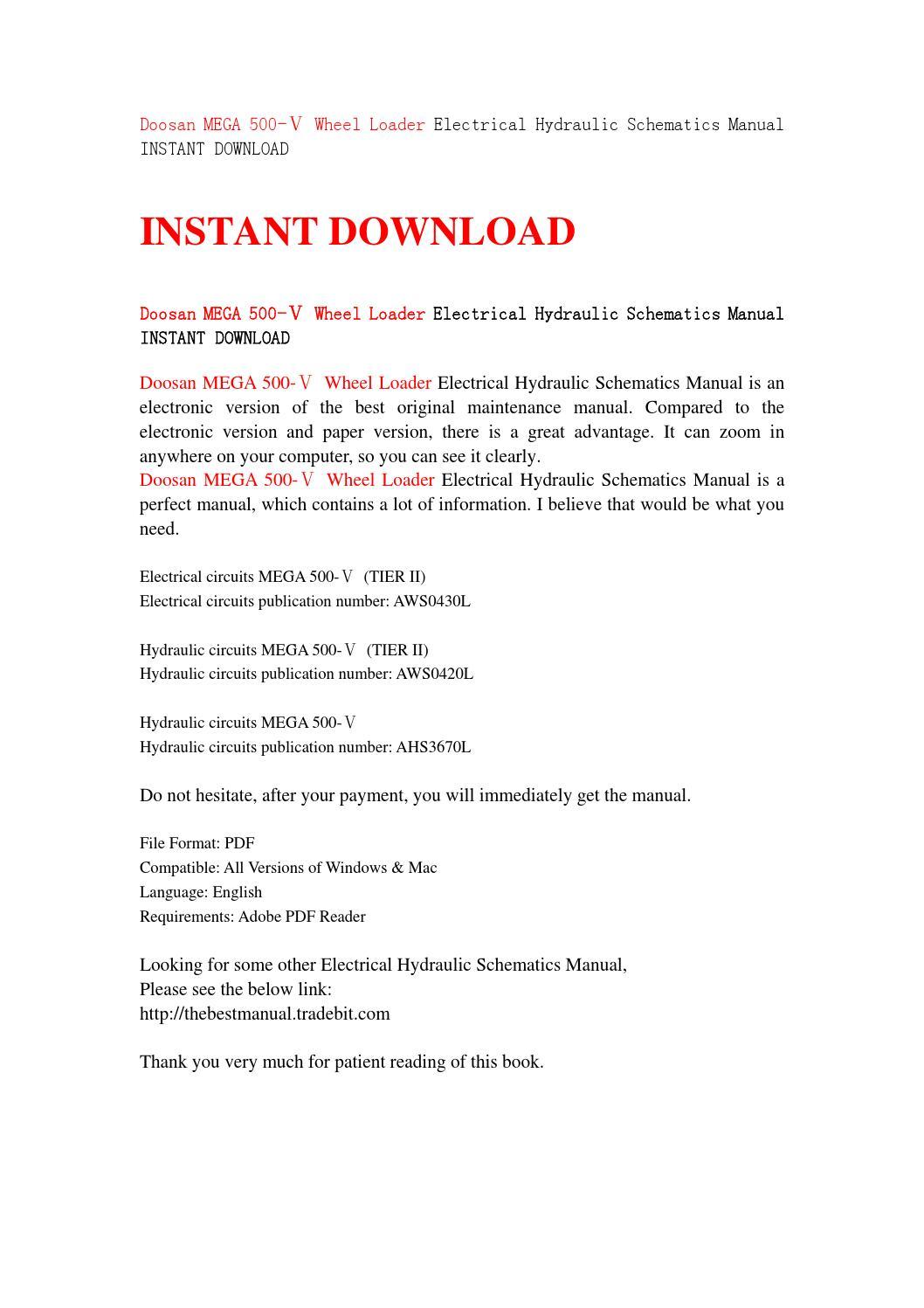 Doosan mega 500 ⅴ wheel loader electrical hydraulic schematics manual  instant download by jshnefen - issuu