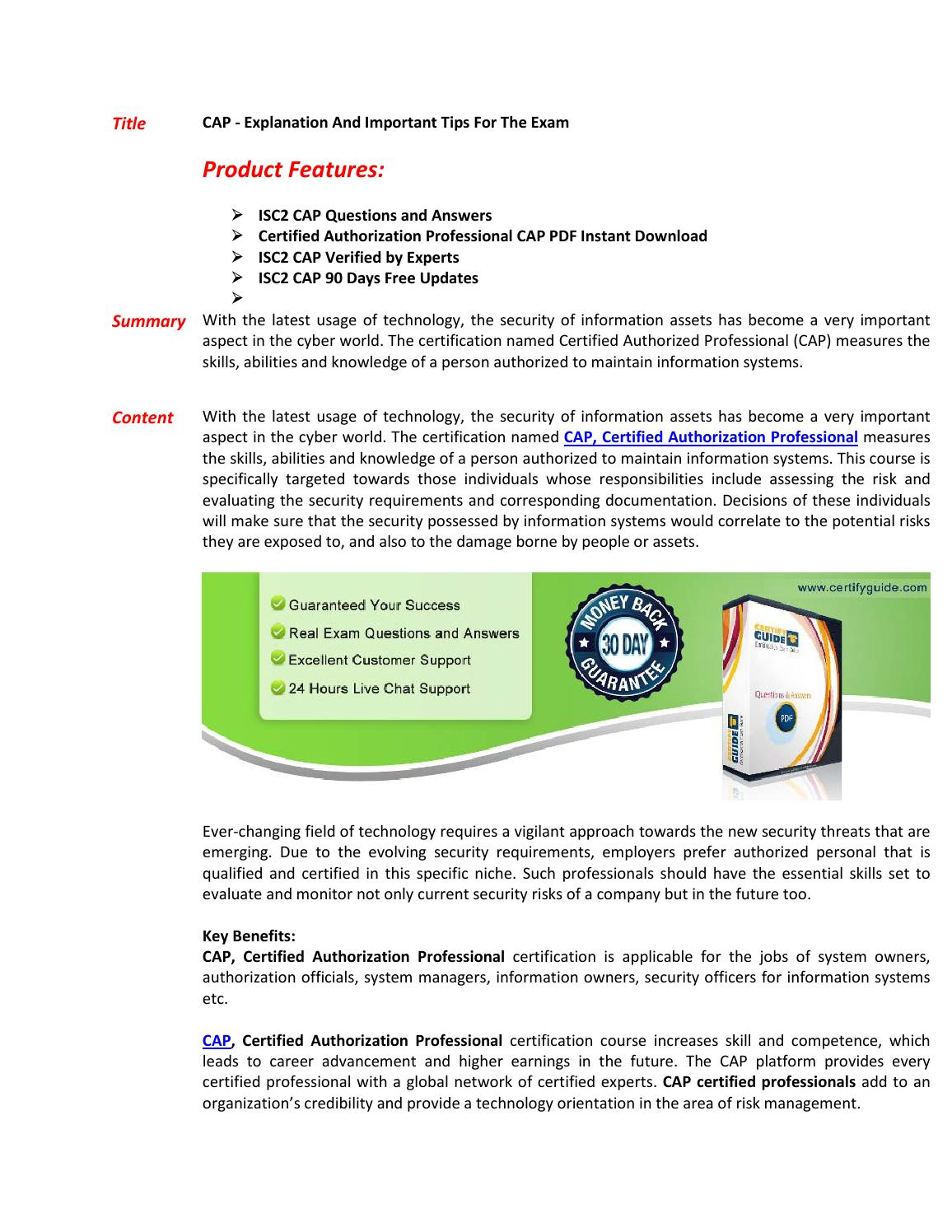 CAP Exam Questions - Pass in First Attempt by DirectCertify - issuu