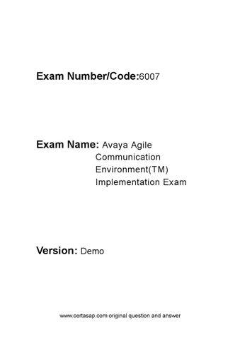 certasap Avaya 6007 Certification Test by certasap.com - issuu