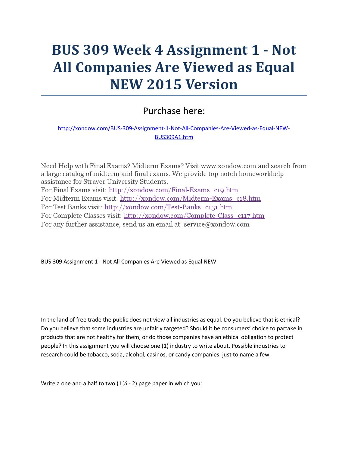 assignment 1: not all companies are viewed as equal Topic: not all companies are viewed as equal (business ethics) order description in the land of free trade, the public does not view all industries as equal.