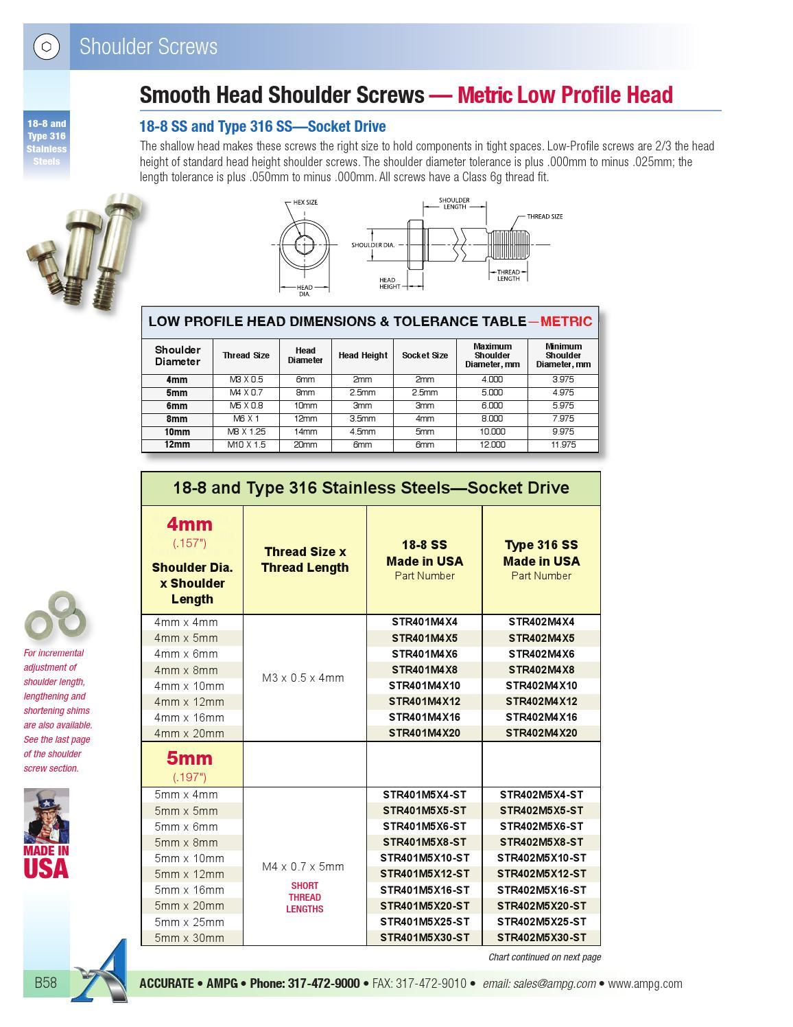 STR60173C26 8-32 x 1 5//8 In L Ampg303 Shoulder Screw