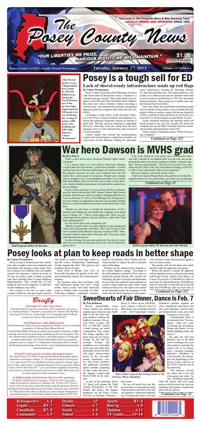 January 27 2015 The Posey County News By The Posey County News