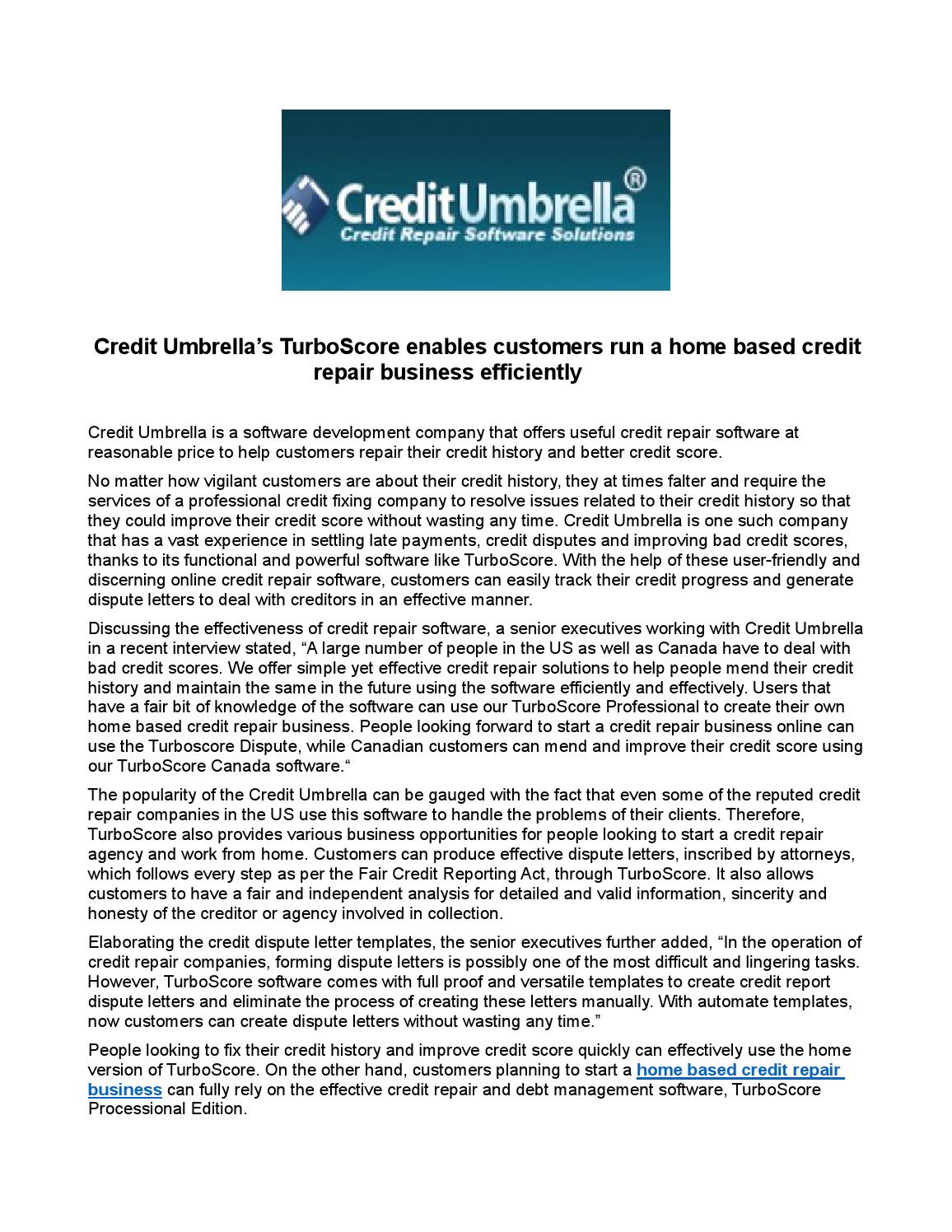 Credit Umbrellas Turboscore Enables Customers Run A Home Based Repair Business Efficiently By Creditumbrella
