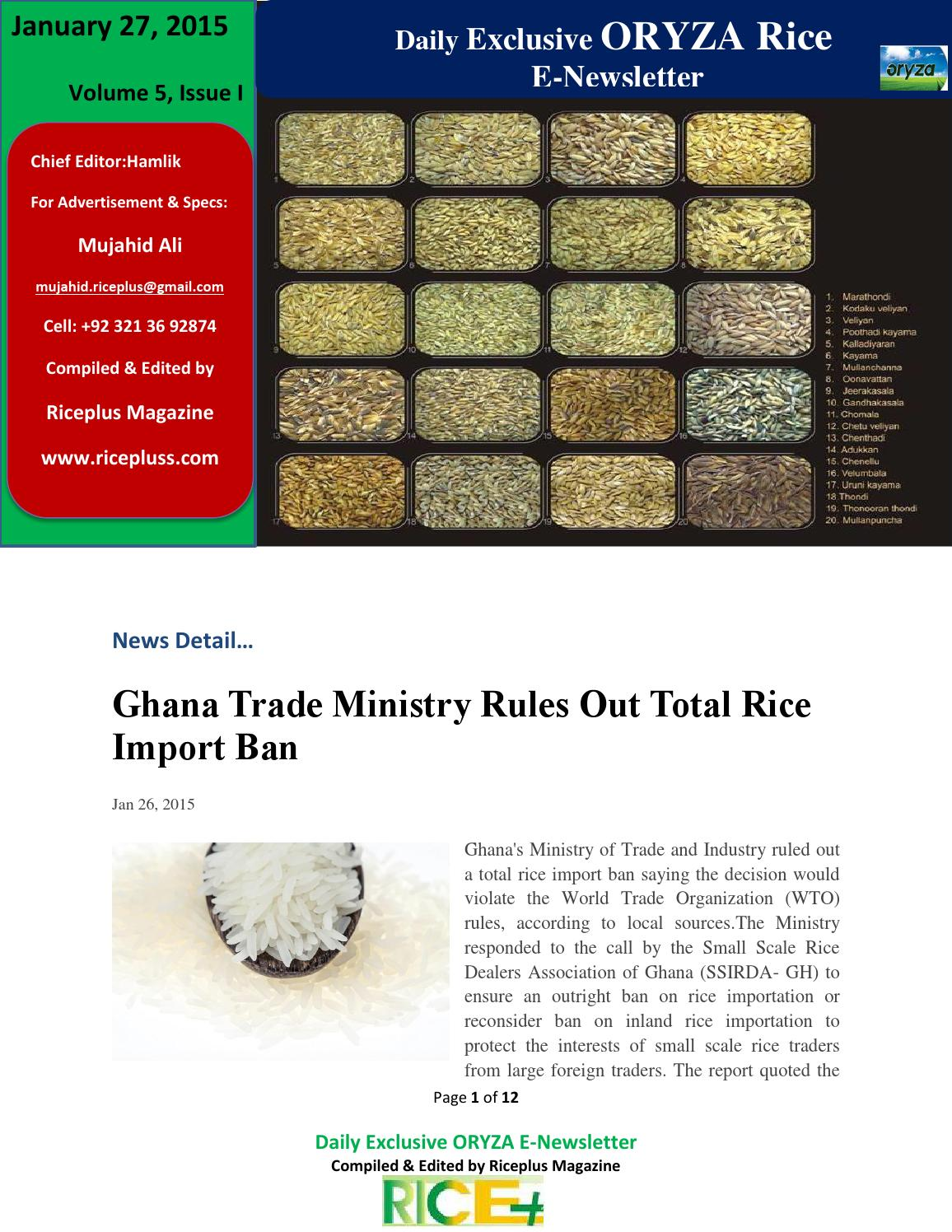 27th january,2015 daily exclusive oryza rice e newsletter by