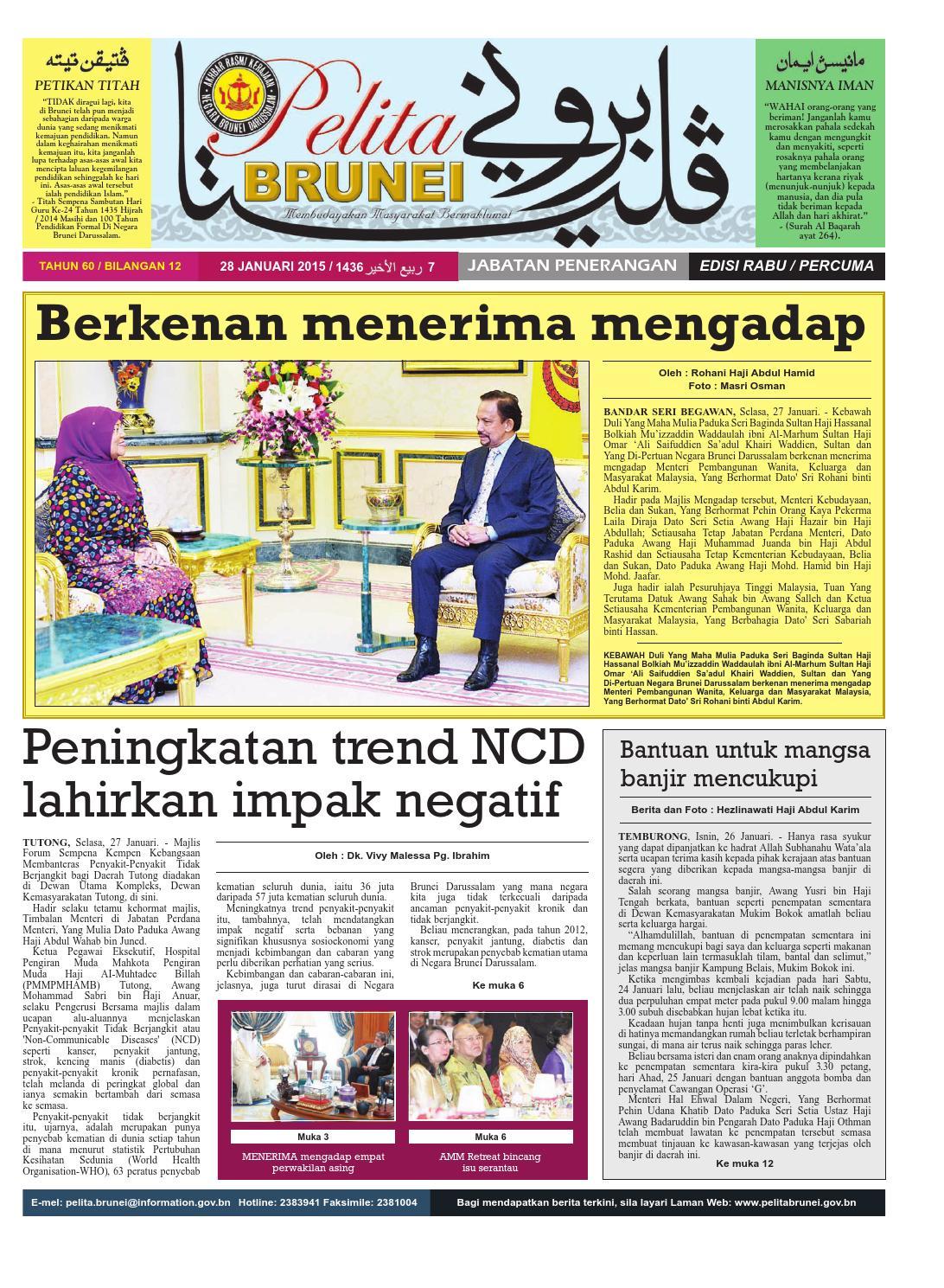 Pelita Brunei Rabu 28 Jan 2015 By Putera Katak Brunei Issuu